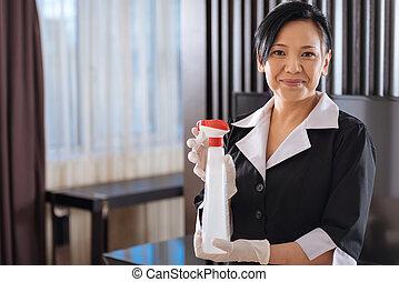 ポジティブ, ホテル, エージェント, 洗浄, お手伝い, アジア人, 保有物