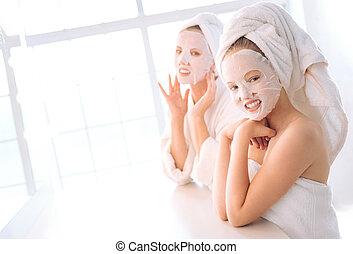 ポジティブ, 女性, マスク, 顔