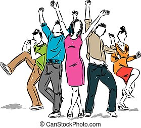 ポジティブ, 幸せ, グループ, イラスト, 人々
