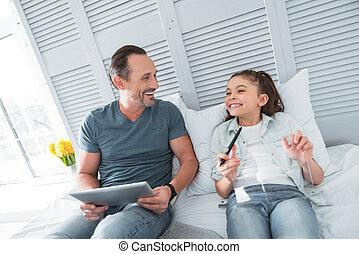 ポジティブ, 幸せ, 娘, 笑い, 父