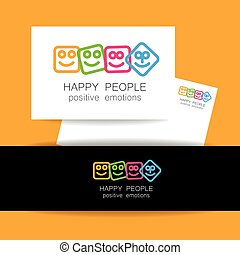 ポジティブ, 幸せ, 感情, 人々