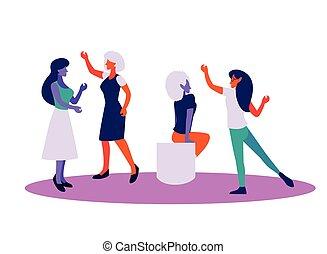 ポジティブ, 考え, 考え, 女性