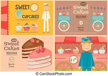 ポスター, ケーキ, セット, ミニ