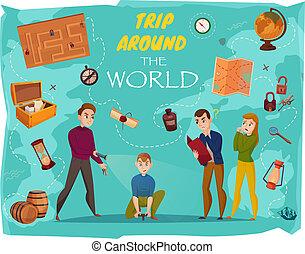 ポスター, ゲーム, 探求, 漫画, 現実