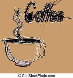 ポスター, コーヒー, ベクトル, illustration., cup.