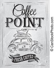 ポスター, コーヒー, ポイント, レトロ, 石炭