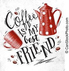 ポスター, コーヒー, 友人