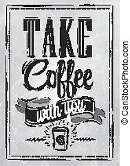 ポスター, コーヒー, 取得, 石炭