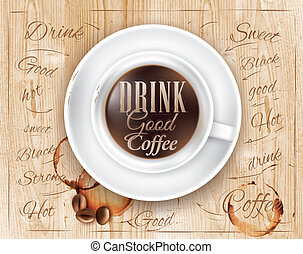 ポスター, コーヒー, 木, 屋根裏, カップ