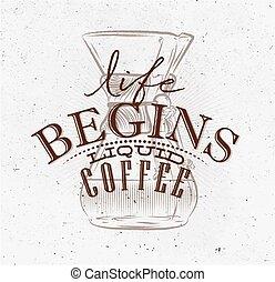 ポスター, コーヒー, 液体