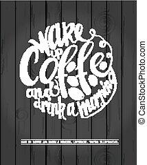 ポスター, コーヒー, 黒板, レタリング