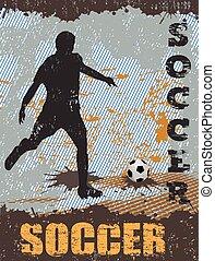 ポスター, サッカー, グランジ, 背景
