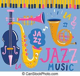 ポスター, ジャズ, music.