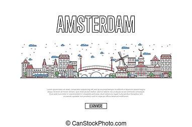 ポスター, スタイル, アムステルダム, 線である, 旅行