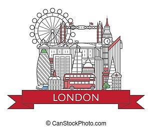 ポスター, スタイル, ロンドン, 線である, 旅行