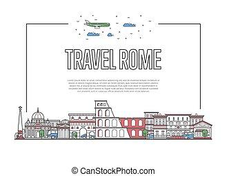 ポスター, スタイル, ローマ, 線である, 旅行