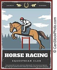 ポスター, スポーツ, 乗馬者, カラフルである