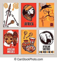 ポスター, セット, アフリカ