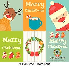 ポスター, セット, クリスマス, かわいい