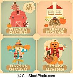 ポスター, セット, 感謝祭