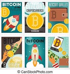 ポスター, セット, bitcoin