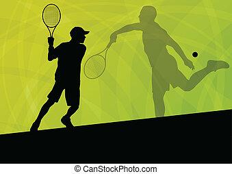ポスター, テニス, イラスト, プレーヤー, シルエット, ベクトル, ティーネージャー, 背景, 活動的, スポーツ
