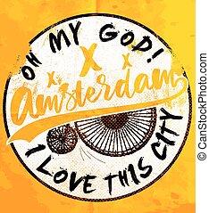 ポスター, デザイン, アムステルダム, ワイシャツ, t, グラフィック