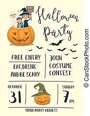 ポスター, デザイン, 子供, ハロウィーンパーティー