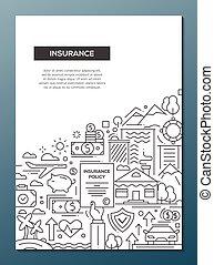 ポスター, -, デザイン, a4, テンプレート, パンフレット, 線, 保険