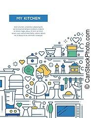 ポスター, -, デザイン, a4, テンプレート, パンフレット, 線, 私, 台所