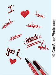 ポスター, バレンタイン, 愛, カード, 執筆