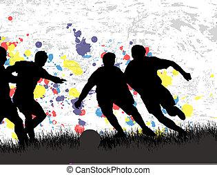 ポスター, フットボール, グランジ