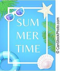 ポスター, フレーム, 貝殻, 夏, ライフブイ