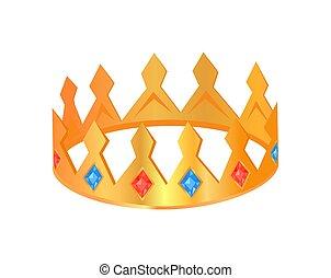 ポスター, ベクトル, 王冠, 宝石類, イラスト
