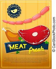 ポスター, ベクトル, 肉