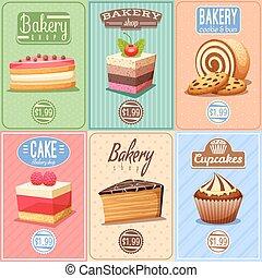 ポスター, ミニ, ケーキ, コレクション, 甘いもの