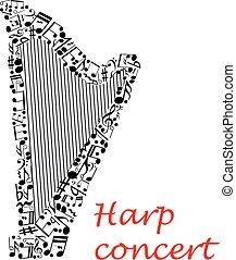 ポスター, メモ, デザイン, ミュージカル, ハープ