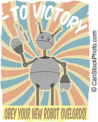 ポスター, ロボット, ii, faux, 世界, 戦争, inva