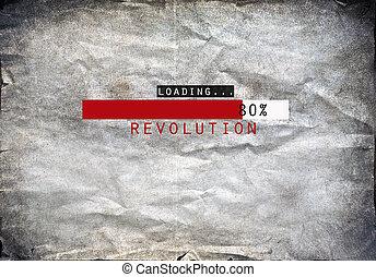 ポスター, ローディング, グランジ, 革命