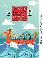 ポスター, 中国語, ボート, イラスト, ドラゴン