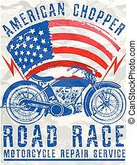 ポスター, 写実的な 設計, オートバイ, ティー