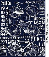 ポスター, 写実的な 設計, ティー, 自転車