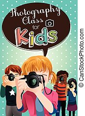 ポスター, 写真撮影, 子供, クラス