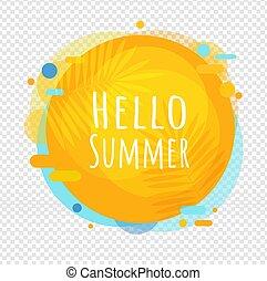 ポスター, 夏, 透明, こんにちは, スピーチ泡, 背景, 隔離された