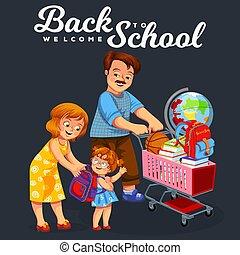 ポスター, 学校, 買い物, 背中