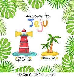 ポスター, 島, hallim, jeju, 南朝鮮, 公園, 島, 灯台, udo, 公園, 旗, 歓迎