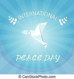 ポスター, 平和, 日, origamini, 世界, 白は潜った, 鳥