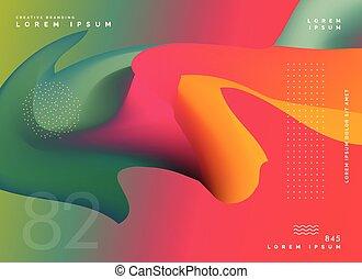 ポスター, 抽象的, カラフルである, 形, 背景