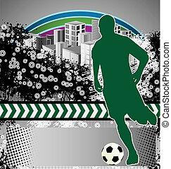 ポスター, 抽象的, サッカー, グランジ