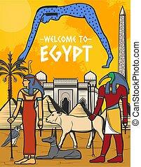 ポスター, 旅行, ランドマーク, エジプト, ピラミッド, エジプト人